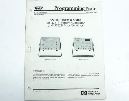 HP 3781B / 3782B  Programming Note