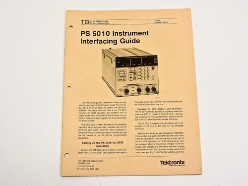 Tektronix PS5010  Interfacing Information