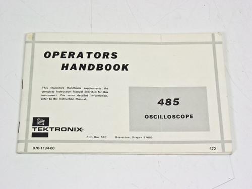 Tektronix 070-1194-00  485 Oscilloscope Operators Handbook Manual