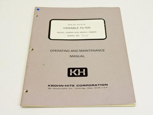 Krohn-Hite Corporation Operating & Maintenance Manual 3200? & 3202?