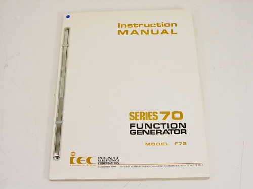 Interstate Electronics F72Function Generator Instruction Manual Series 70