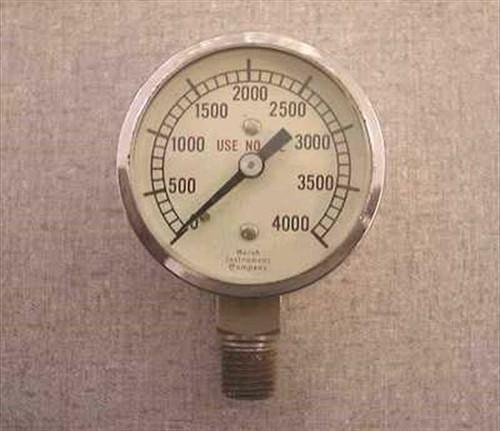 """Marsh 4000psi  1/2"""" NPT Gas 0 to 4000 PSI Gauge"""