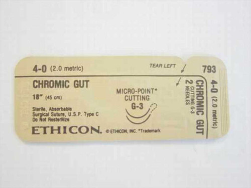 "Ethicon 793  Suture, Absorbable 4-0 (2.0 metric) 18"" (45 cm)"