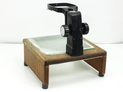 Bausch & Lomb Style  Microscope Focus Block with Wooden Stand Illumination Plate -AS IS-