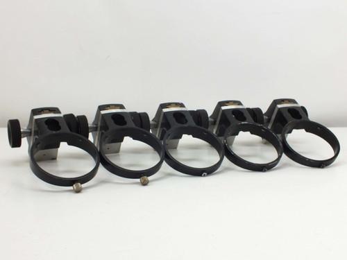 Lot of 5  Microscope Focus Blocks Black 100mm Diameter Head Port 90mm Travel