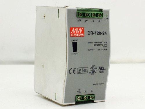 Mean Well DR-120-24  120W Single Output Industrial DIN RAIL Power Supply