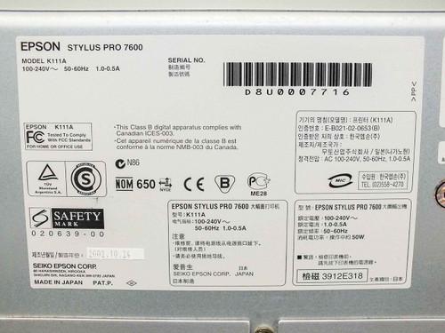 Epson K111A  Stylus pro 7600 Inkjet Color plotter version BN1452D