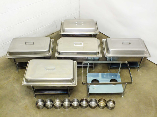 "Crestware CHA1  Lot of 5 Buffet Serving Chafers w Frames & 4"" Dripless Water Pans"