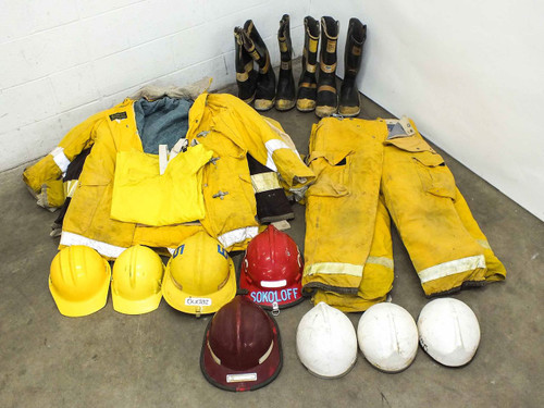 Globe Turnout Gear  Lot of Worn Firefighting/Rescue Pants, Jackets, Boots, and Helmets