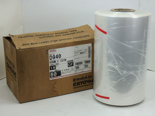 "Cryovac D940 9C916 Clear Shrink Film, Gauge .60 Mils, 5827 Sq ft., 406mm x 1331m & 18"" W, product 9C916"
