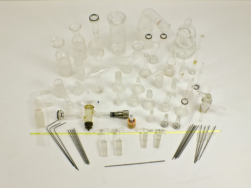 Scientific Glassware  Lot of 40 Plus Pyrex Angled Laboratory Glass Flasks