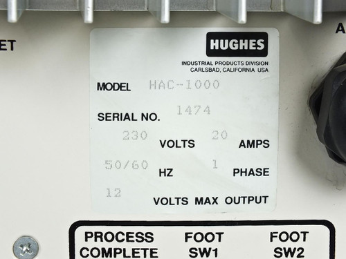Hughes HAC-1000  Programmable AC Welding Controller and Head