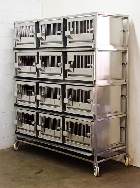 Lab Products Stainless Steel  Modular Animal Cage System with 12 removable cages