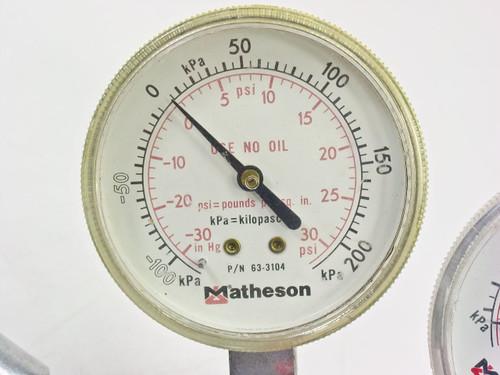 Matheson 3102C  Dual Stage Inert Gas Regulator w/ Flash Arrestor