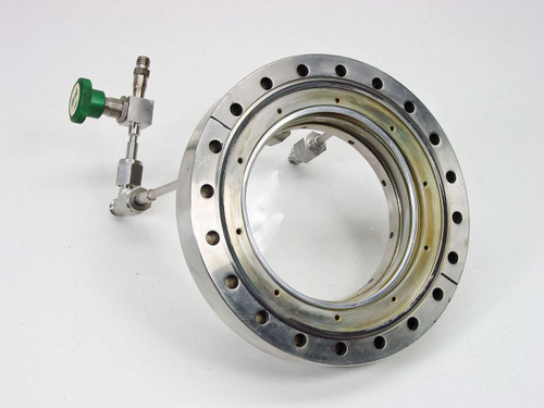 "MDC I.D. 4.75"", O.D. 8""  Vacuum Chamber Viewport Flange with Gas Feed Throughs"