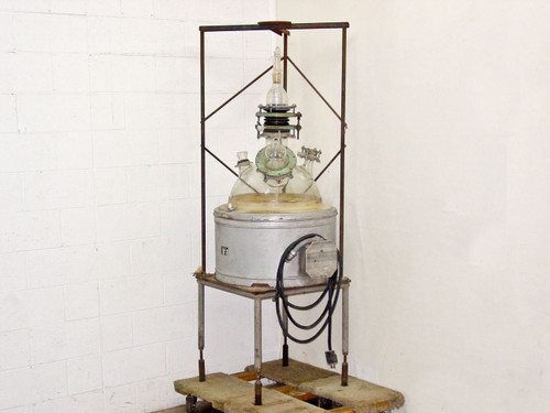 Glas-Col Apparatus Co TM122S  Large Glass Heated Spherical Reactor Vessel with Stand