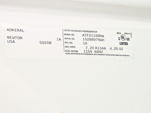 Maytag ATF2110DRW  Admiral Refrigerator