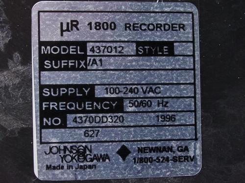 Johnson Yokogawa 437012  uR1800 12-Dot Chart Recorder