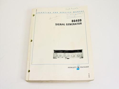 HP 08640-90186  8640B Signal Generator Operating & Service Manual