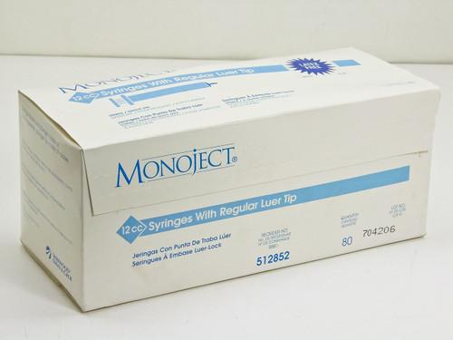 Monoject 512852  12cc Syringes w/ regular luer tip- box of 80