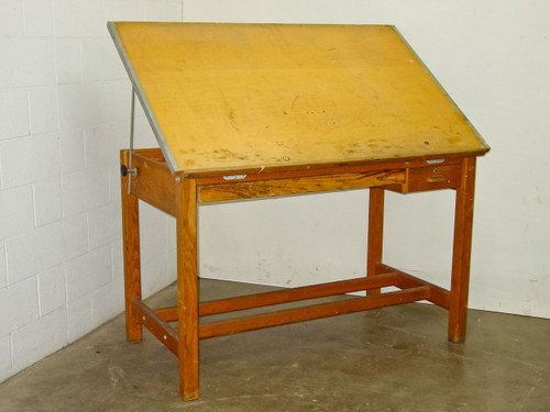 Oak 60 x 38 x 38  Vintage Drafting Table 38 x 60 Top