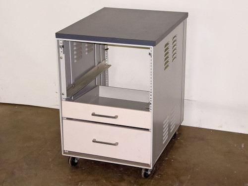 """19"""" Rackmount 26 x 20 x 30  Rolling Chassis w/2 drawers and Worksurface"""