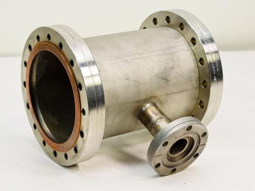 "Huntington Labs / Varian O.D. 6"", I.D. 5.25"" to O.D. 2.75"", I.D. 22mm  Vacuum Conflat Flange Reducing Tee"