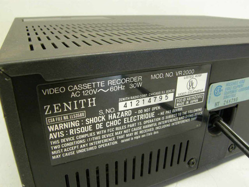 Zenith VR 2000  VCR Player / Recorder