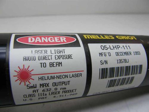 Melles Griot 05-LHP-111  Laser HeNe Red 632.8 nm 5mW Class IIIa