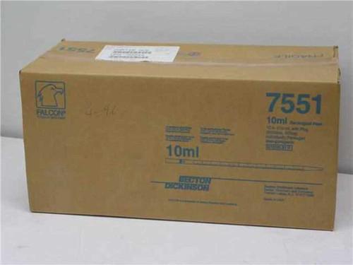 Falcon 7551  10 ml Serological Pipet w/ plug 200/case