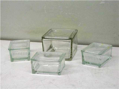 Pyrex Glass lot  4pc's Square lab containers with lids