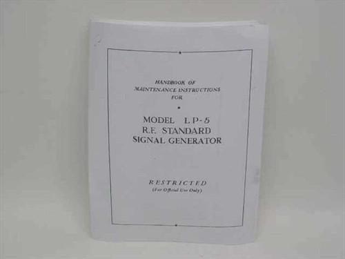 Federal Mfg. & Engineering Corp LP-5  R.F. Standard Signal Generator Manual PHOTOCOPY