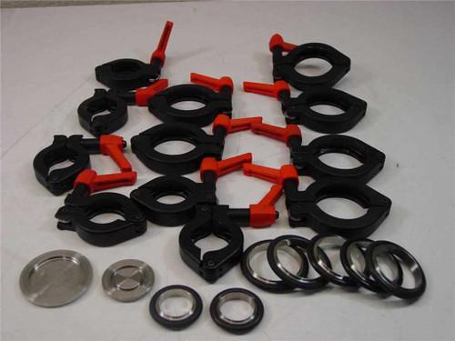 Varian Lot  Vacuum clamps, o-ring, end cap