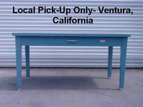 Steel Table  Blue 1 drawer Vintage Metal Desk Formica Top