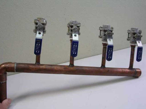 "Custom N /A  4 Valve Chill Water Manifold 1"" x 4 -1/2"" Branches"