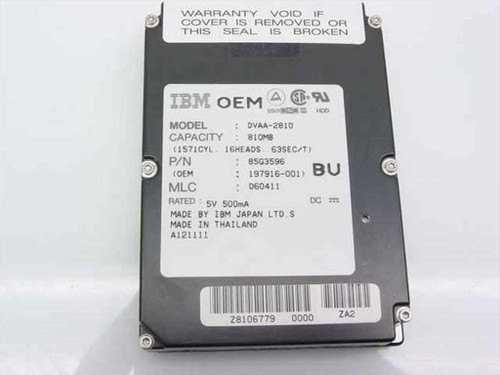 IBM 810MB Laptop Hard Drive-DVAA-2810 (85G3596)