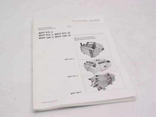 Pfeiffer Vacuum 800 011 BN/D  Diaphragm Vacuum Pumps Operating Instructions