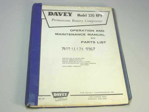 Davey Compressor Co 250 RPV  Permavane Rotory Compressor Operation Maintenance