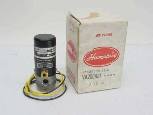 Humphrey Products VA250AE1  Air Pilot 1/4 Inch Single Solenoid Valve 2-3 Way 1