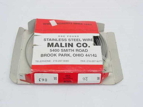 Malin Company 26  Stainless Steel Wire Dia 063 One Pound