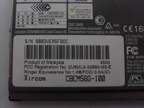 Xircom CBEM56G-100  CardBus Ethernet 10/100& Modem 56 w/Dongle