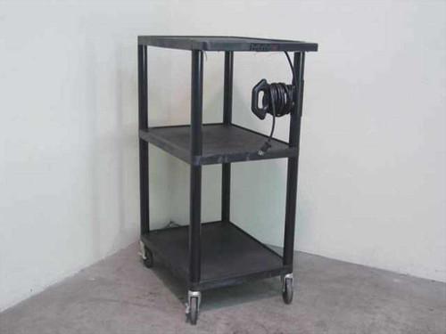 "Luxor Black  42"" 3-Shelf Rolling Utility Cart - Audio Visual"