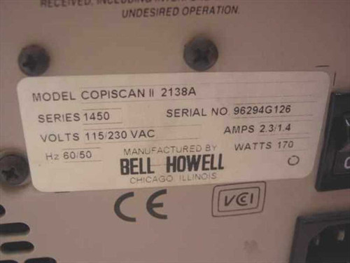 Bell Howell 2138A  Copiscan 2 Sheetfed Scanner w/Ace As Is