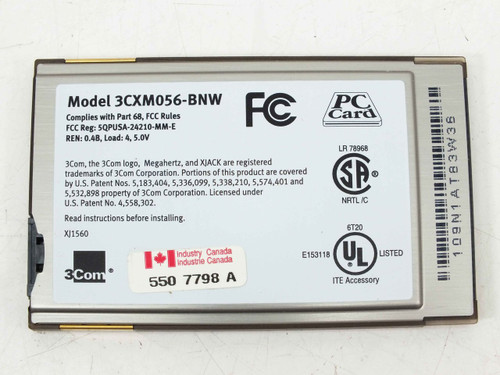 3Com 3CXM056-BNW  56K Modem PC Card