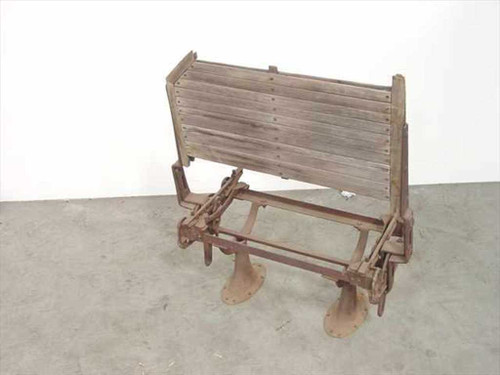 Antique Streetcar  Bench Seat - classic folding iron with wood seat