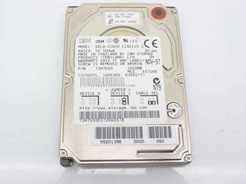 "IBM DDLA-21620  1620MB 2.5"" Laptop Hard Drive"