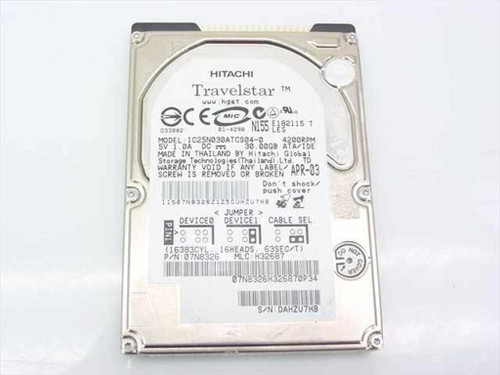 "Hitachi IC25N030ATCS04-0  30.0GB 4200RPM 2.5"" Laptop Hard Drive - Dell 00K72"