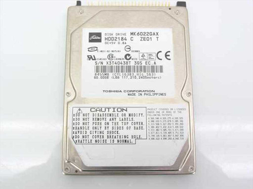 "Toshiba MK6022GAX  60.0GB 2.5"" 9.5mm 5200RPM Laptop Hard Drive"