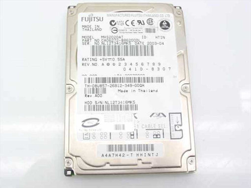 "Fujitsu MHS2020AT  20.0GB 2.5"" 9.5mm Laptop Hard Drive 8U857"
