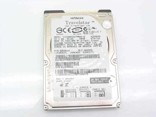 "Hitachi IC25N060ATMR04-0  60.0GB 2.5"" 9.5 mm 4200 RPM Laptop Hard Drive"